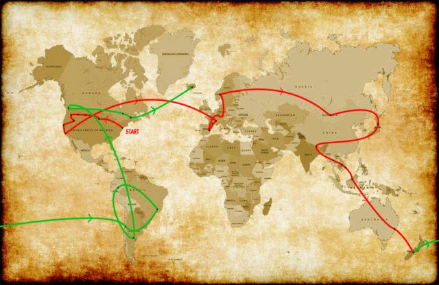 Parchment paper world tour map