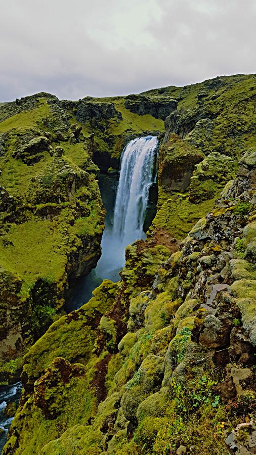 The upper part of the Skogarfoss waterfall