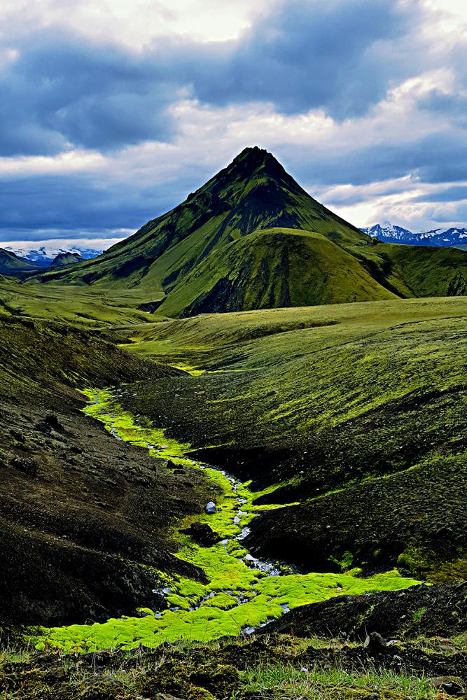 Iceland green mountain