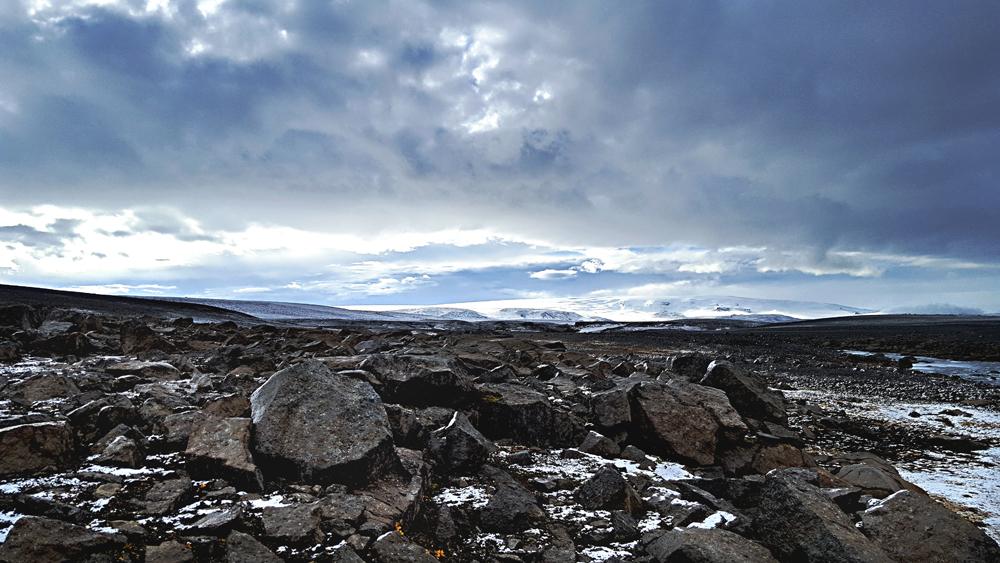 Snow on Iceland rocks