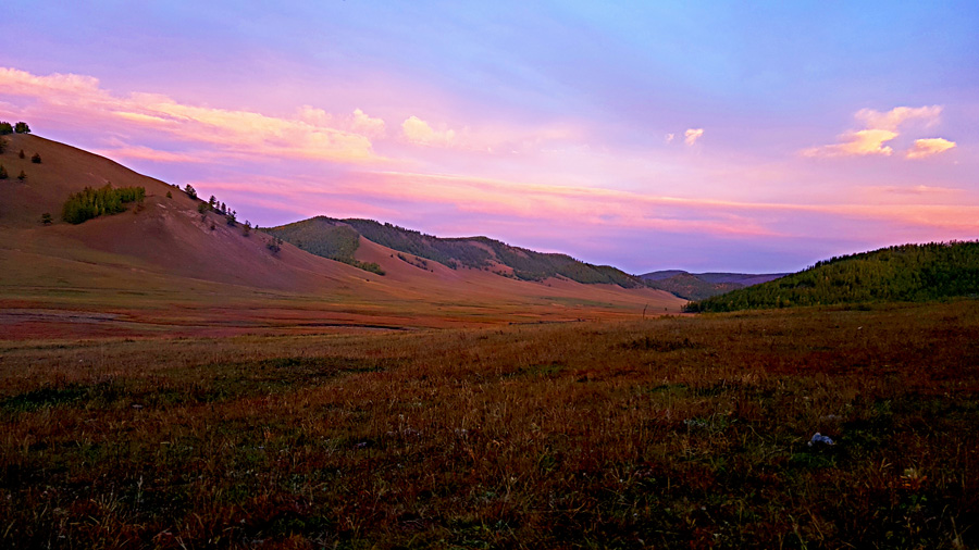 The sunset on mongolia's steppe