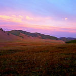 Colorfull sunset over Mongolian Steppe