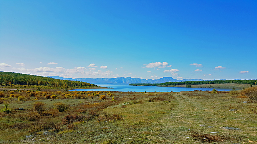 The view of Khovsgol lake and its mountains