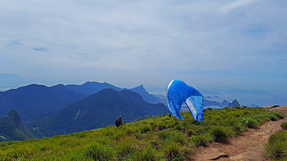 Paragliding from the summit of Pedra da Gavea