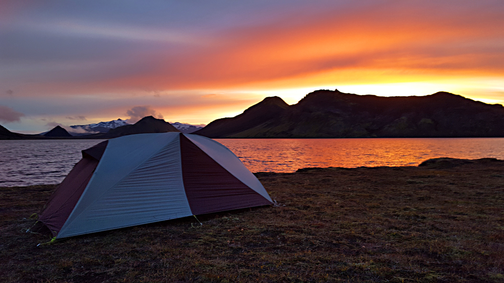 Iceland sunset on my tent