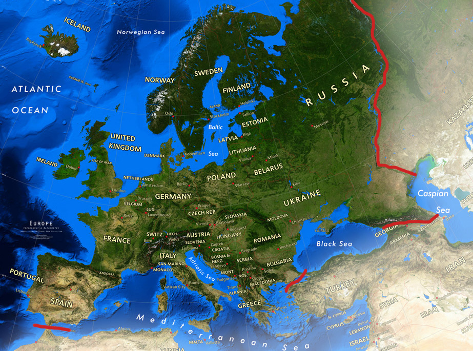 Satellite view of Europe