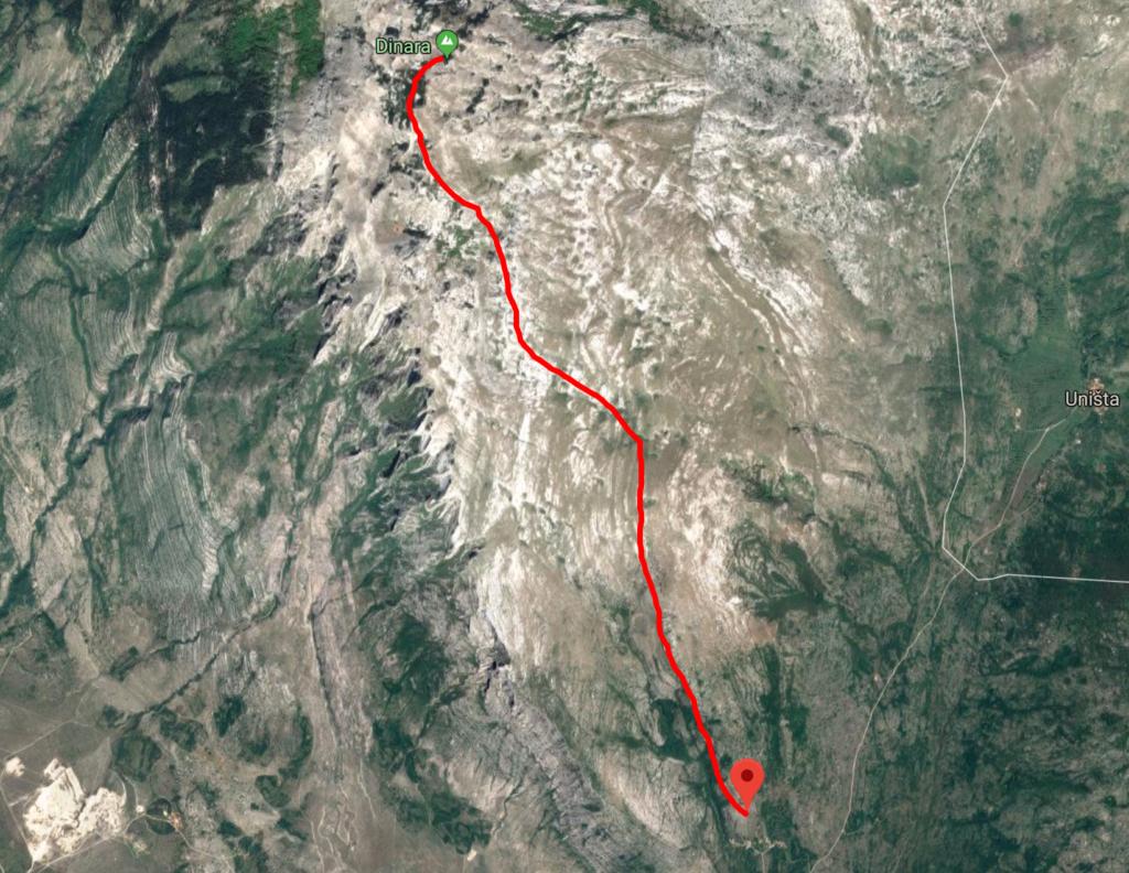 DInara Croatia Hike map